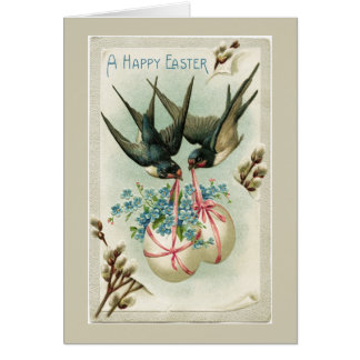 Vintage Birds Carrying Easter Eggs Yellow Note Card