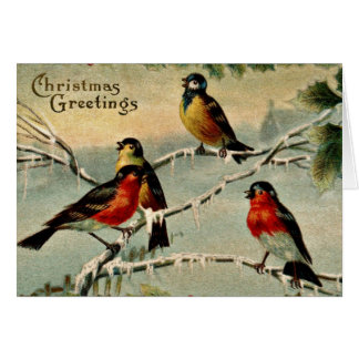 Vintage Birds Christmas Card