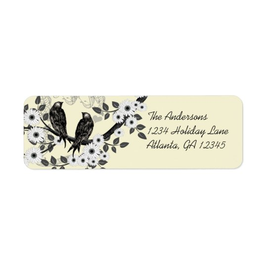 Vintage Birds Daisy Flowers Address Labels