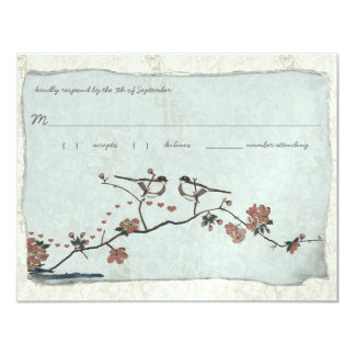 "Vintage Birds Damask Wedding RSVP 4.25"" X 5.5"" Invitation Card"