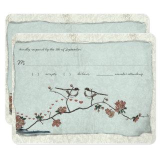 Vintage Birds Damask Wedding RSVP Card
