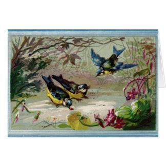 Vintage Birds Feeding (Blank Inside), Card