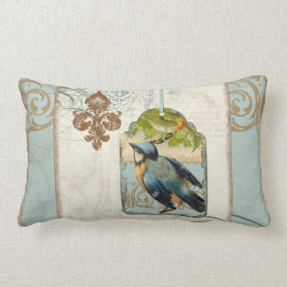 Vintage Birds Fleur de Lis Songbird Swirl Collage Lumbar Pillow