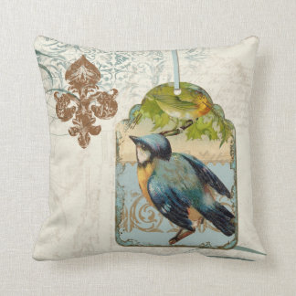 Vintage Birds Fleur de Lis Songbird Swirl Collage Throw Pillow