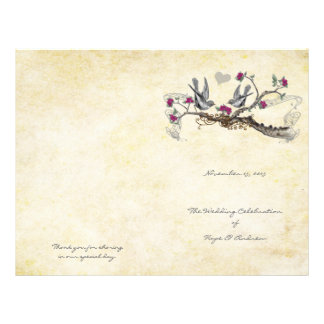 Vintage Birds Fuchsia & Gray Wedding Program