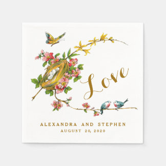 Vintage Birds Love Wedding Paper Napkins