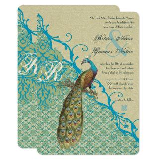Vintage Birds Margarita Hawaiian Blue Damask Card