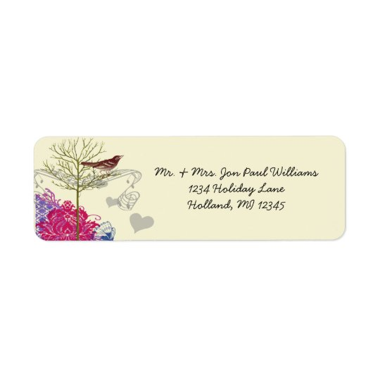 Vintage Birds Musical Bright Raspberry Damask Return Address Label