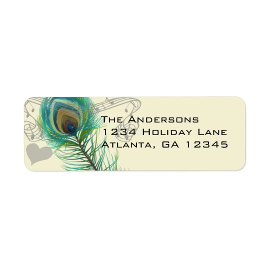 Vintage Birds Musical Peacock Feather  Address Return Address Label