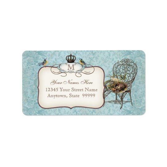 Vintage Birds' Nest in Chair, Wedding Invitation Label