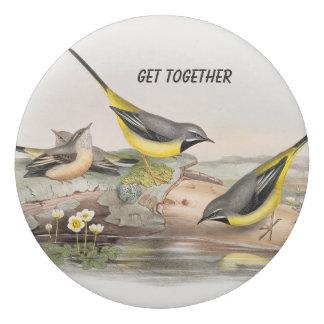 Vintage-birds on a log eraser