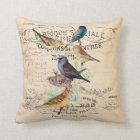 Vintage Birds on Antique Typography Throw Pillow