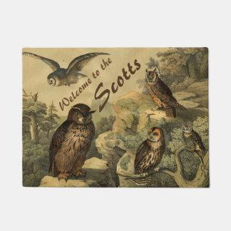 Vintage Birds Owls in Forest Custom Welcome Doormat