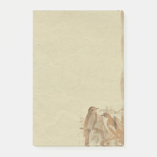 Vintage Birds Parchment Paper  Retro Post-it Notes