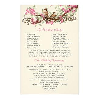 Vintage Birds Pink Flowers Wedding Program Stationery