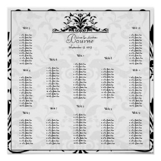 Vintage Birds Plum Blooms Seating Chart 12 Tables Print