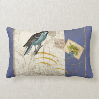 Vintage Birds Postage Stamp Songbird Swirl Collage Lumbar Pillow