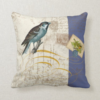 Vintage Birds Postage Stamp Songbird Swirl Collage Throw Pillow