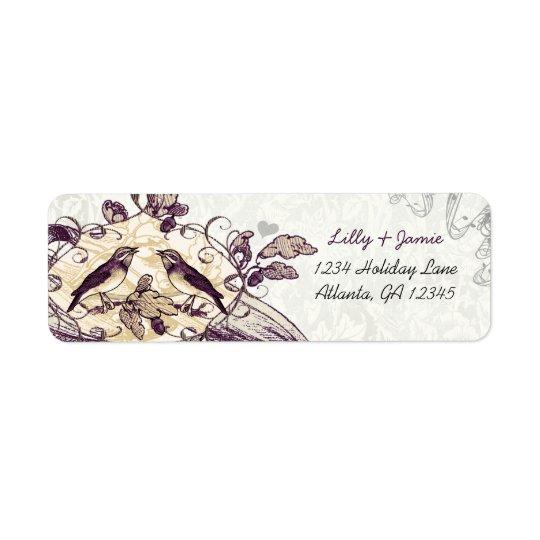 Vintage Birds Purple & Coral Oak Tree Acorn Label Return Address Label