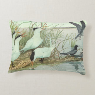 Vintage Birds, Shorebirds in a Marsh by Fuertes Accent Pillow
