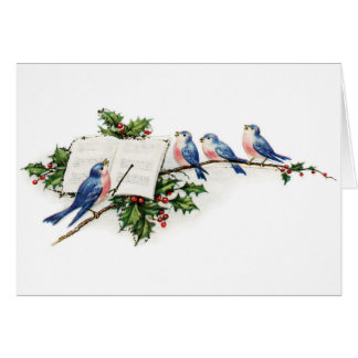 Vintage Birds Singing on a Holly Branch, Card