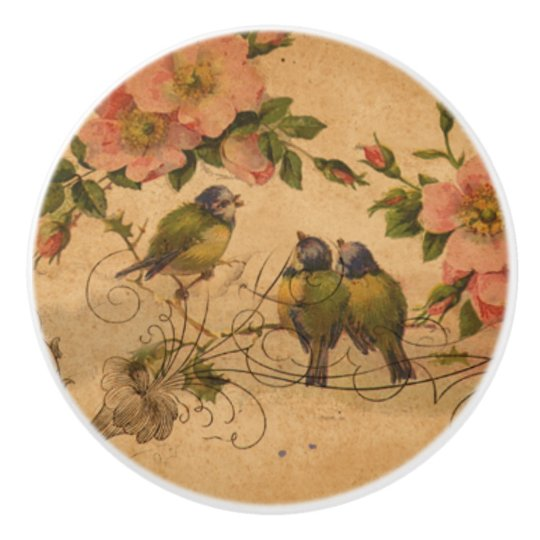 Vintage Birds Talking in Blossoming Tree Ceramic Knob