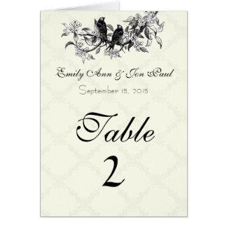 Vintage Birds Wedding Table Number Cards