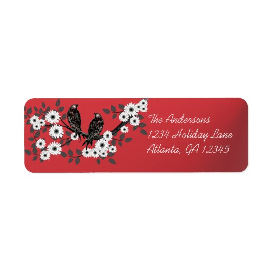 Vintage Birds White Flowers Christmas Red Labels