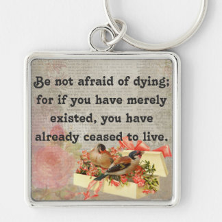 Vintage Birds with Flowers and Life Message Silver-Colored Square Keychain