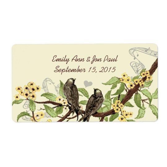 Vintage Birds Yellow flowering Branch Labels