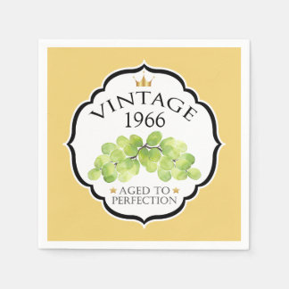 Vintage Birth Year Birthday Wine Label Paper Napkins