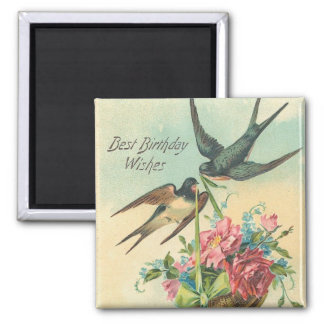 Vintage Birthday Barn Swallows Square Magnet