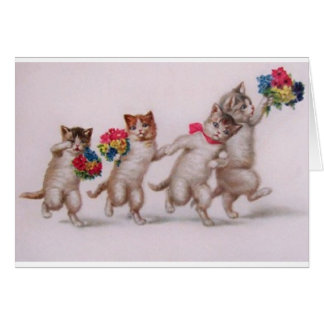 Vintage Birthday Card - Kittens With Flowers