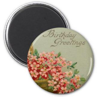 Vintage Birthday Flower Basket 2 Inch Round Magnet