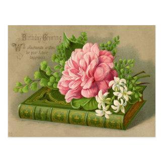 Vintage Birthday Flowers Postcard