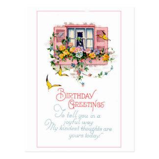 Vintage Birthday Greetings Window Flowers Postcard
