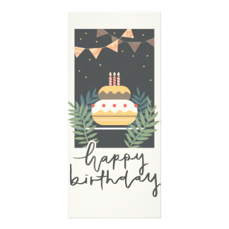 Vintage birthday greetings with cake and balloons rack card