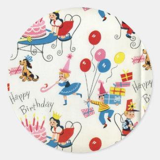 Vintage Birthday Party Classic Round Sticker