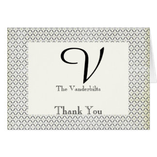 Vintage Black and Cream Diamond Wedding Thank You Card