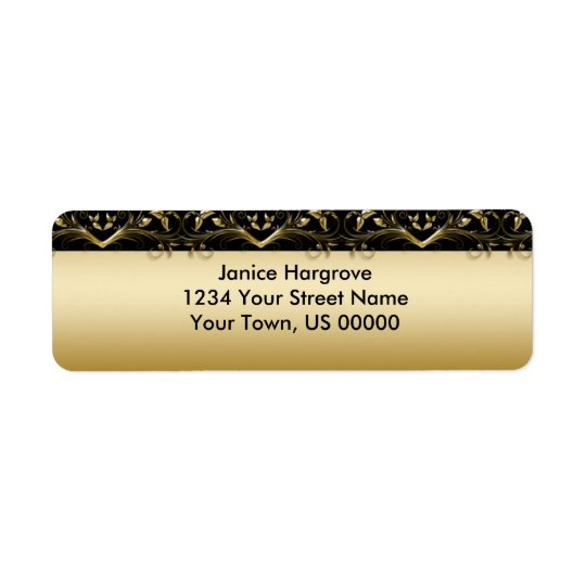 Vintage Black and Gold Return Address Label