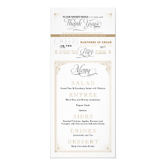 Vintage Black and Gold Thank You Menu Cards