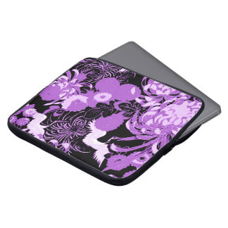 Vintage black and purple flowers and birds laptop sleeve