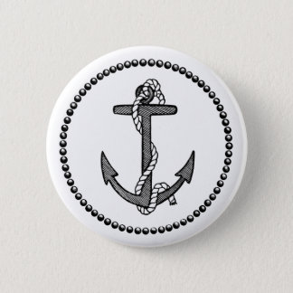 Vintage Black and White Anchor and Rope 2 Inch Round Button