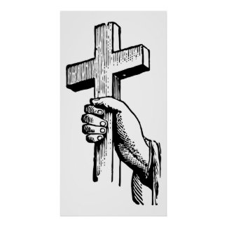 Vintage Black and White Christian Easter Cross Poster