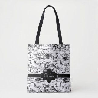 Vintage Black and White Country Toile Tote Bag