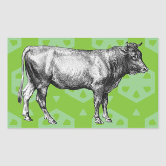Vintage Black and White Cow Illustration Stickers