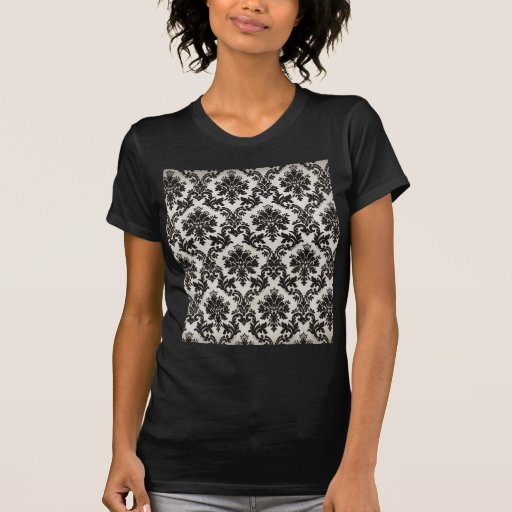 Vintage Black and White Damask Wallpaper T Shirts