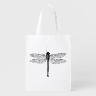 Vintage Black and White Dragonfly Illustration Market Totes
