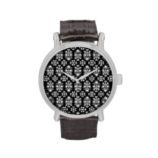Vintage Black and White Floral Damask Pattern Watches