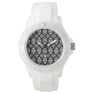 Vintage Black and White Floral Damask Pattern Wristwatch